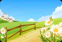 Spring Flowers & Clouds Background