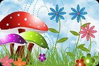 Happy Spring With Flowers & Mushrooms Background