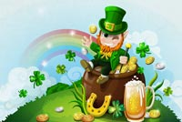 Leprechaun Sits On Pot Of Gold Background