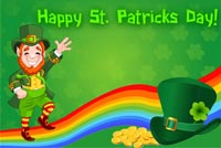 Leprechaun Green Hat & Rainbow Background