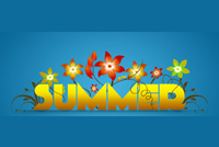 Summer Text & Flowers Background
