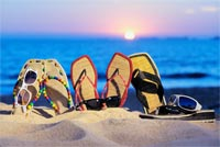Sandals And Sunglasses Summer Beach Background