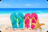 Summer Beach, Slippers, Starfish, & Seashell Background