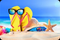 Summer Sandy Beach,  Starfish, Sunglasses, Flip-flops Background