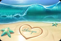 Summer Love, Heart On Sand Background