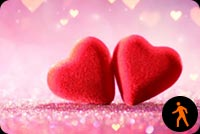 Animated Two Hearts On Pink Glitter Background