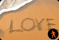 Animated Sandy Beach With Love Background