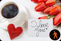Animated Coffee Cup With I Love You Note Background