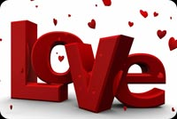 3d Love Text & Hearts Background