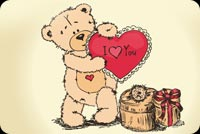 Valentines day email backgrounds. Teddy Bear - I Love You