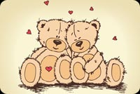 Valentines day email backgrounds. Couple Teddy Bear