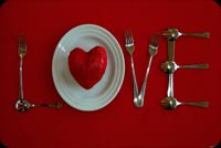 Red Heart Plate Love Background