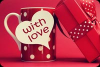 Valentines day email backgrounds. Cup & Gift With Love