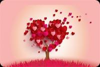 Lovely Hearts Tree Background