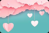 Pink Clouds Love In The Air Background
