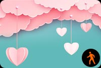 Animated Pink Clouds Love In The Air Background