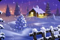 Snow House Winter Night Background