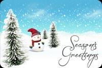 Winter email backgrounds. Snowman Season's Greetings