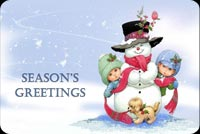 Winter email backgrounds. Snowman & Two Little Kids