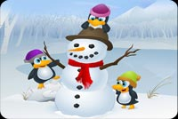 Winter email backgrounds. Snowman With Penguins