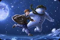 Winter email backgrounds. Flying Boy & Snowman