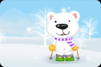 Winter email backgrounds. Ski Bear Having Fun