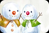 Winter email backgrounds. Two Snowman