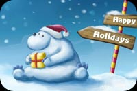 Happy Holidays White Bear Background