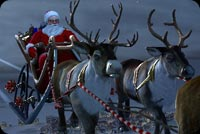 Winter email backgrounds. Santa & Flying Reindeers